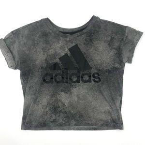 ADIDAS| Smokey Grey Crop Tee w/cuff sleeves